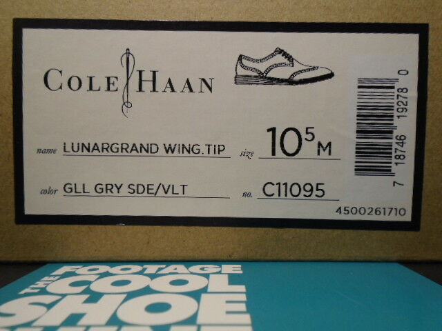 COLE HAAN LUNARGRAND WING TIP GULL grigio SUEDE SUEDE SUEDE VOLT NEON giallo C11095 NEW 10.5 add0e4
