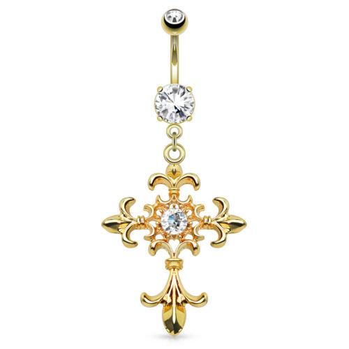 Bauchnabelpiercing Kreuz Fleur de Lis CZ Zirkonia vergoldet Cross