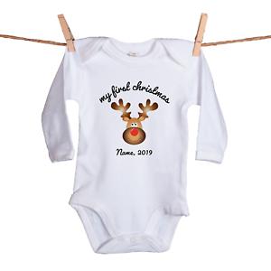 """100/% Bio-Baumwolle Babybody /""""my first christmas/"""" personalisiert Weihnachten"""