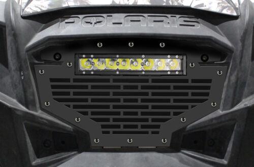 "Steel Grille with 10/"" LED Light Bar for Polaris RZR 900 2011-2014 Bricks Black"