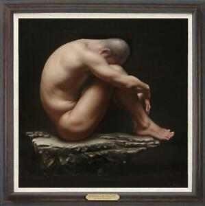 """Hand painted Original Oil Painting art Portrait male nude on canvas 30""""x30"""""""
