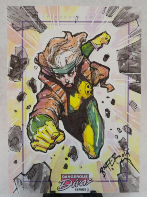 ROGUE X-MEN DANGEROUS DIVAS SERIES 2 ORIGINAL MARVEL SKETCH CARD