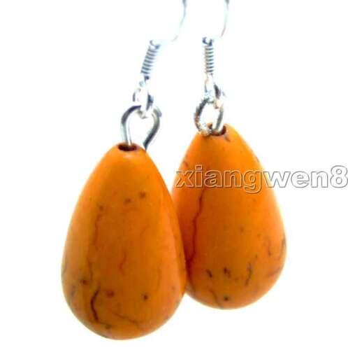 10*16mm Goutte Orange Naturel Turquoise Dangle Boucles d/'oreilles pour femmes Argent S925 e385