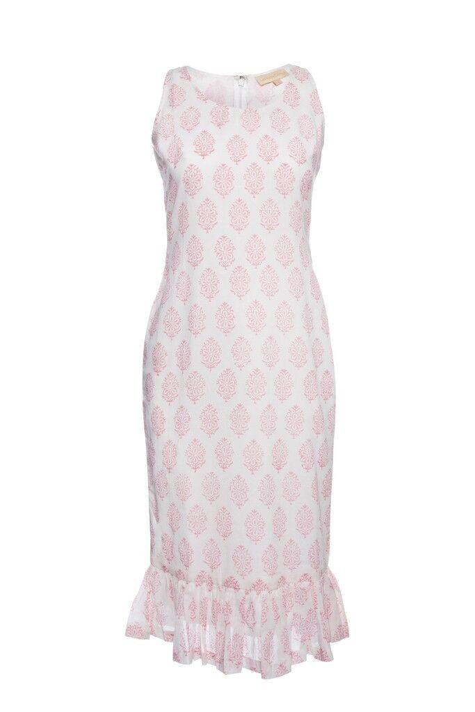 COTTON FLORAL HAND PRINTED SHEATH DRESS Medium US- 8 8 8 ac9d00