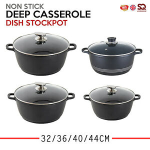 Non-Stick-Die-Cast-Deep-Oven-Casserole-Dish-Stockpot-Soup-Pot-Pan-32-36-40-44cm