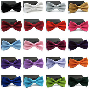 Men-Satin-Bowtie-Classic-Wedding-Party-Bow-Tie-Solid-Color-Adjustable-Necktie