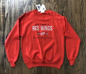 NWT-Vtg-Detroit-Red-Wings-Lee-Mens-Long-Sleeve-Pullover-Crewneck-Sweater-Medium