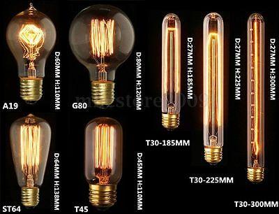 E27 40W 60W Filament Light Bulb Vintage Retro Antique Style Edison Lamp 220/110V