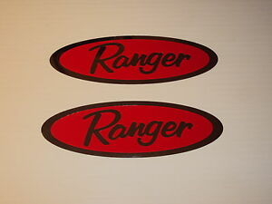 2-RANGER-BOAT-Chrome-amp-red-STICKER-DECALS-12-x-4-inches