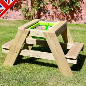 Rebo Wooden Sandpit With Lid Sand & Water Picnic Table Play Bench - Single