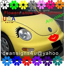 Car Eyelashes headlight red LIPS bumper face VW bug beetle black volkswagen USA