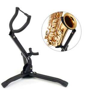 Alto-Tenor-Size-Saxophone-Stand-Holder-for-Sax-Folding-Portable-Tripod-Black-US