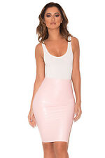 HOUSE OF CB 'Sofia' Baby Pink Latex Pencil Skirt 'FAULTY' SS 7991