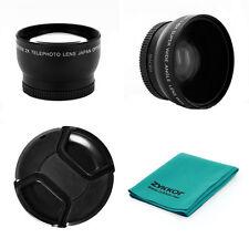 Wide Angle + 2X Telephoto Lens Kit For Canon Vixia HF R72 R700 R70 R600 R62 R60