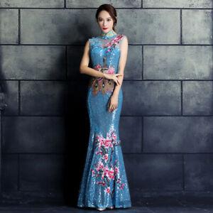Womens-Sequin-Cheongsam-Bridesmaid-Cocktail-Prom-Evening-Ball-Gown-Mermaid-Dress