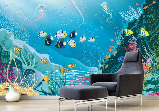 3D Fisch Algen Karikatur 785 Tapete Wandgemälde Tapeten Bild Familie DE Summer