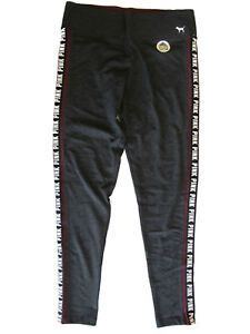 d83a5770b17c0 Details about Victoria's Secret Pink Yoga Pant Logo Stripe Dark Grey Medium