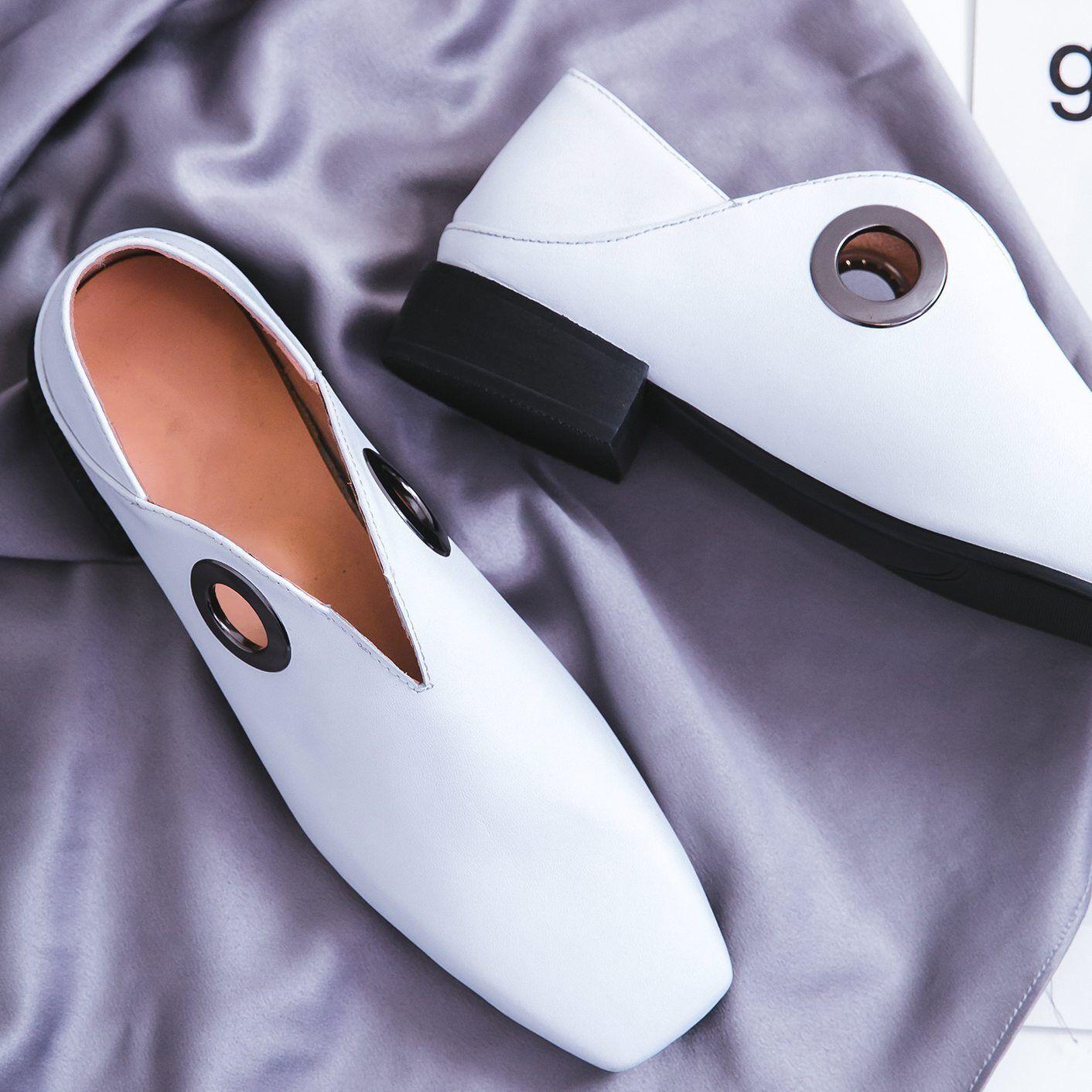 Moda mujeres chatos Slip On On On Mulas botas al Tobillo Dedo Del Pie Cuadrado Cuero Vaca Oxford Caliente  estilo clásico
