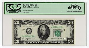"""$20 1963 Federal Reserve Note Kansas City """" Serial # 26 """" PCGS Gem New 66 PPQ"""