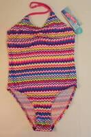 Girls One Piece Swimsuit 4 - 5 X-small Bathing Suit Pink Purple Chevron Xs