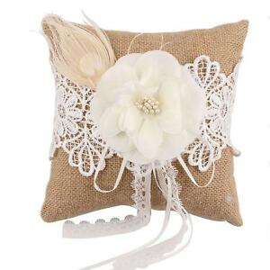 Image Is Loading Vintage Burlap Feather Lace Pearl Flower Rustic Wedding