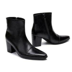 Nightclub Mens Real Leather Shoes Cuban Heel Pointy Toe Motorcycle Ankle Boots