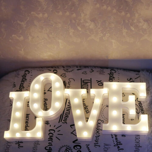 LED Light Up Alphabet Letter Lights White Plastic Numbers Hanging Standing Signs