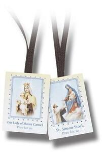 Traditional-Catholic-Scapular-Brown-Wool-Cord-Our-Lady-of-Mount-Carmel-Boxed