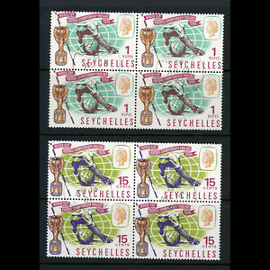 SEYCHELLES-1966-World-Cup-SG-226-227-Fine-Used-Block-of-Four-AB506