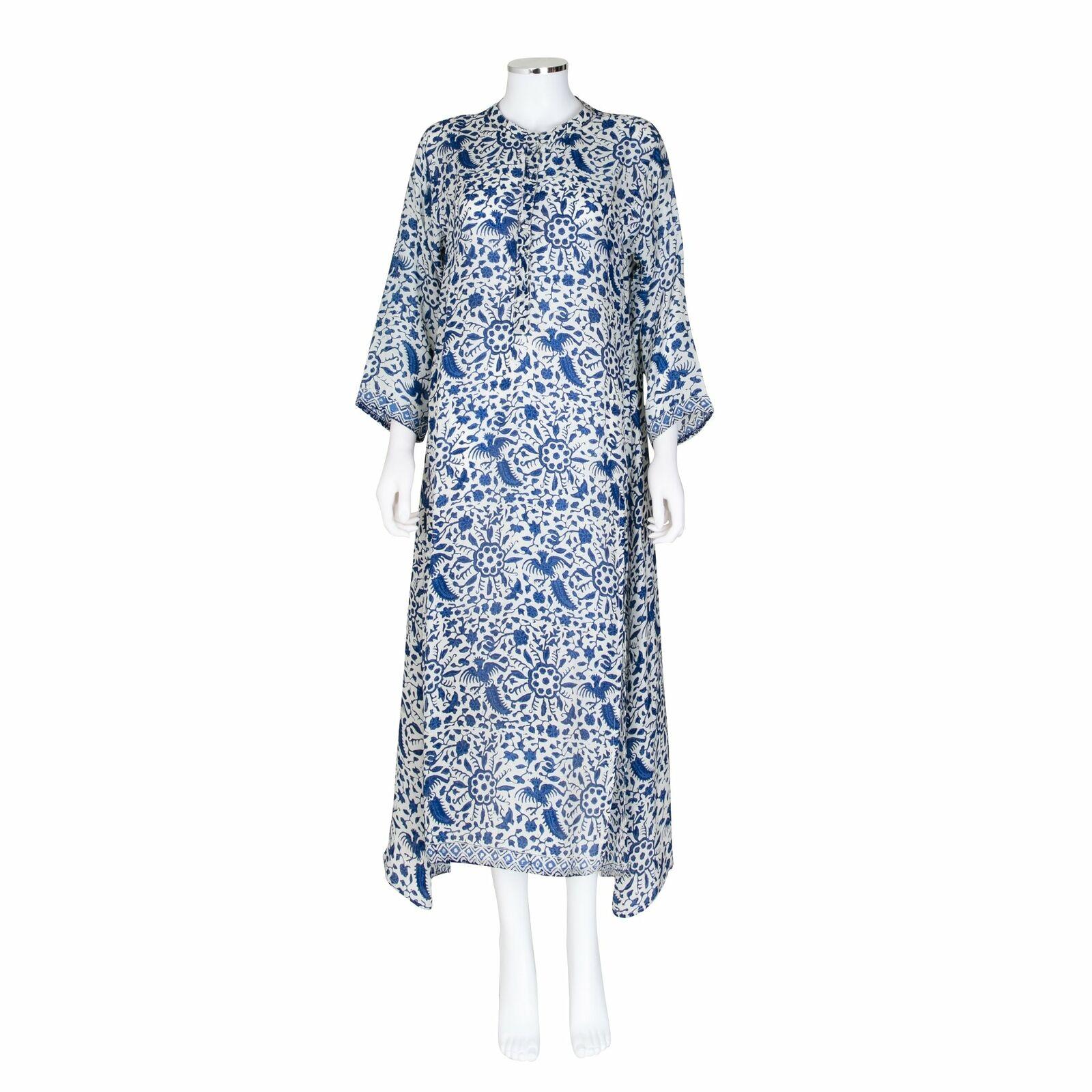 Natalie Martin Floral and Bird Bird Bird Print Midi Dress or Beach Cover-Up - Size M c5855f