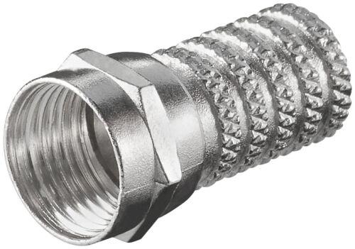 50 x F-Stecker Zink vernickelt für Kabel Außen Ø 6 mm 4 Ringe