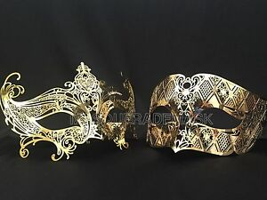 Couple Masquerade Mask Pair Birthday Wedding Black White Dress Burlesque Party