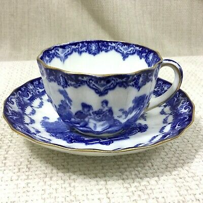 Antique Teacup Cup and Saucer Royal Doulton Demitasse Blue /& White