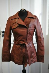 Ladies Whet blu Brown Leather Jacket good condition with wrap round tie up belt.