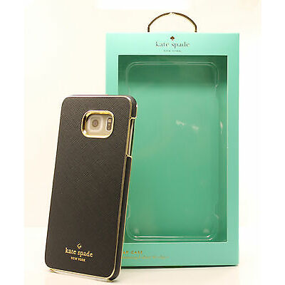 Kate Spade Saffiano Leather Wrap Snap Case for Samsung Galaxy S6 edge+ Black NEW