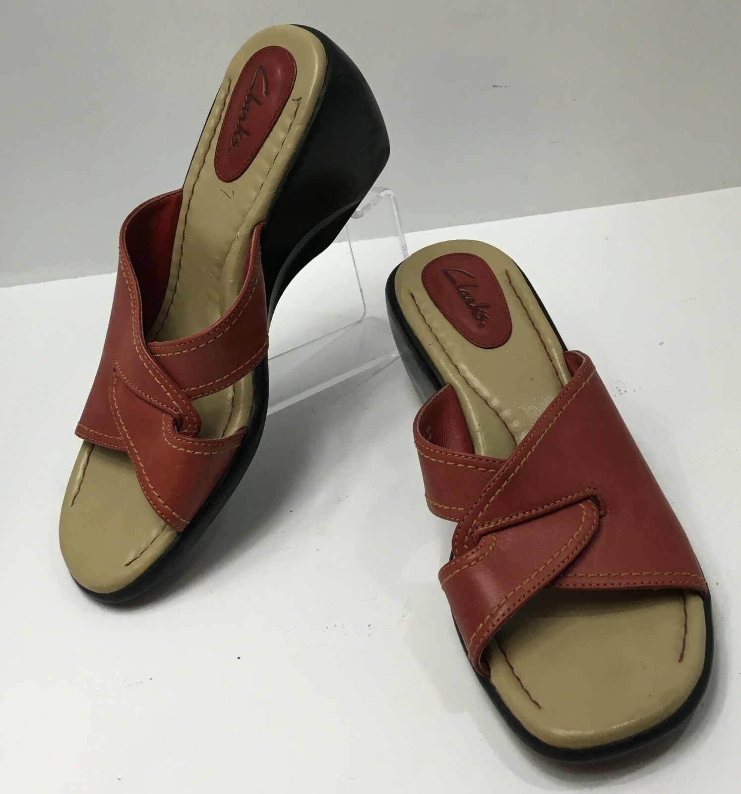 Clarks Size 5.5 M Red Sandals Slides Shoes Wedges Womens Red M Leather 1eec28