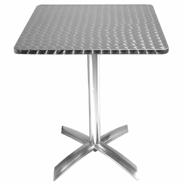 Bolero Grey Steel Patterned Square Bistro Table 710X700X700mm Restaurant Bar