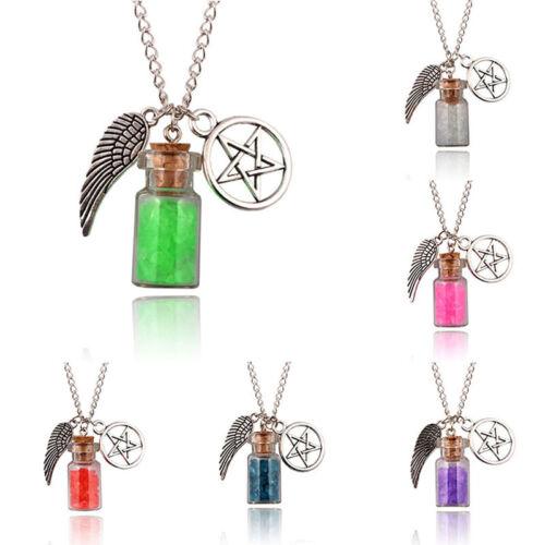 Angel Wing Pentagram Salt Witch Bottle Necklace Protection Pendants s//
