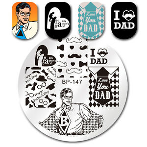 Born-Pretty-Nail-Stamping-Plates-Happy-Father-039-s-Day-Theme-Templates-DIY