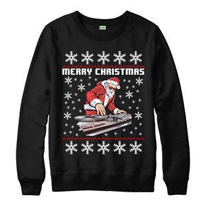 Dj-Santa-Christmas-Jumper-Disc-Jockey-fete-cadeau-de-Noel-Enfants-Adultes-NEUF