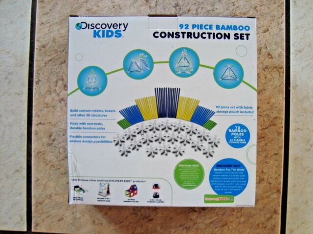 Discovery Kids 92 Piece Bamboo Construction Set Build Imaginary Play