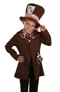 Little Mad Hatter Costume & Hat Boys Fancy Dress Wonderland Book Week Kids NEW