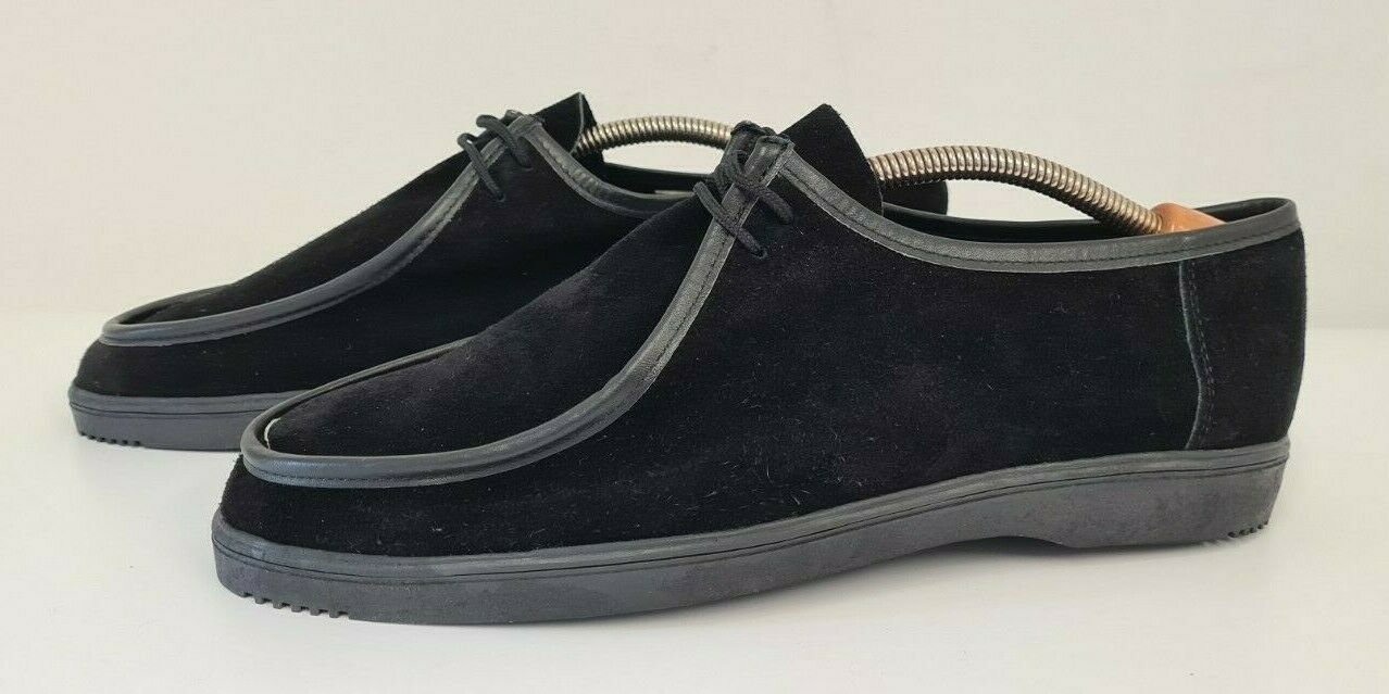 Vintage 1980's Mocci Black Suede Casual Shoes New Without Tags Size 8 UK 42 EUR