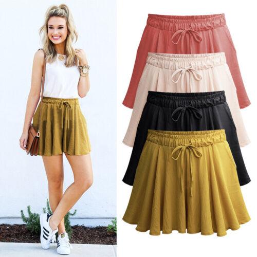 Plus Size Women High Waist Mutil Solid Elastic Shorts Cotton Beach Pants UK 8-22