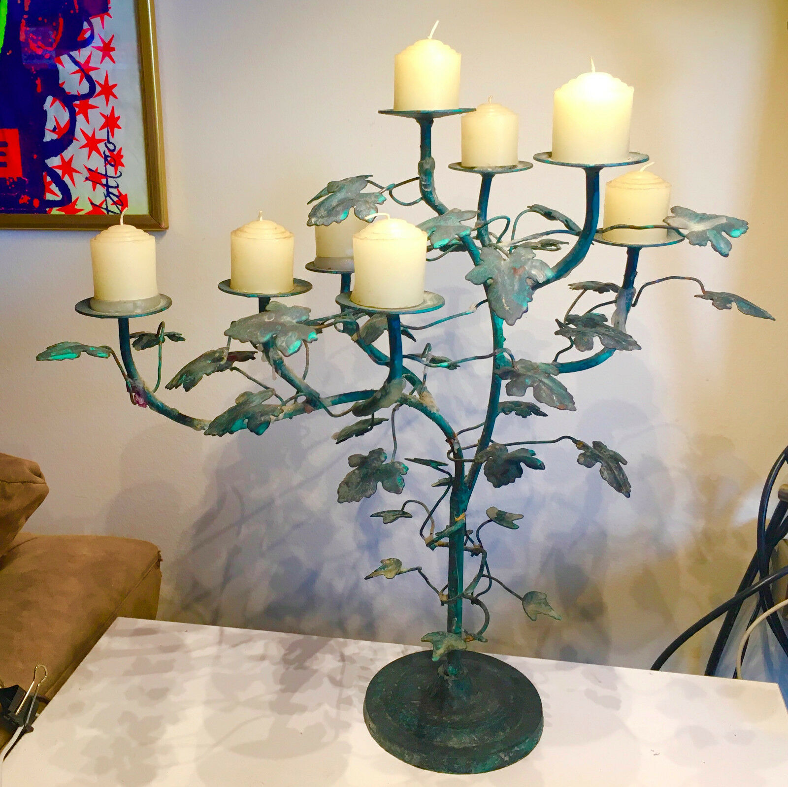 INCrotIBLE IVY TREE CANDLEABRA HOLDS 8 VOTIVE CANDLES OR LARGER BENDABLE LEAVES