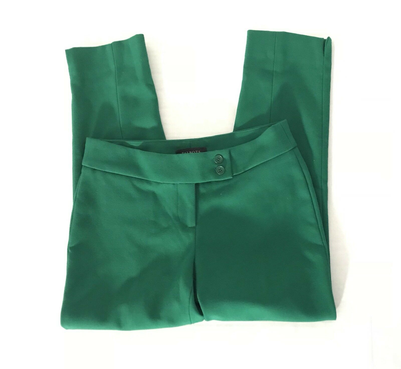 Talbots D4 Womens Capris Cropped Ankle Trouser Flat Size 2 Petites Green