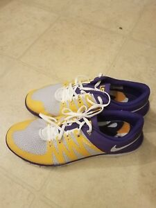 c9b5d7ca5bccc LSU Tigers Nike Free Trainer 5.0 V6 AMP Training Shoes Purple 723939 ...