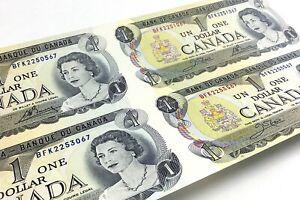 Four-1973-Canada-One-Dollar-BFK-Prefix-4-Uncut-Uncirculated-1-Banknote-J528