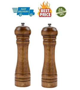 Professional Classic Refillable Wooden Salt and Pepper Mill Spice Herb Grinder