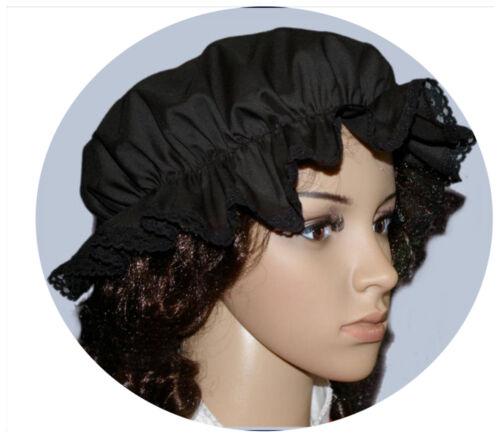 Nero Donna Vittoriano//MEDIEVALE Mocio Cappello Costume 100/% ncotton